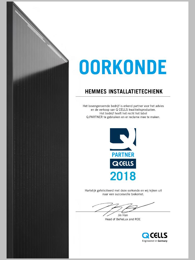 Hemmes Installatietechniek Nu Ook Q-Cells Partner!!